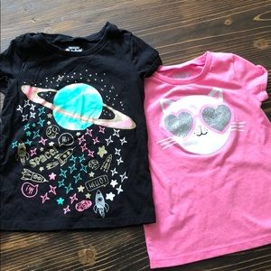 Lot of 2 4/5 T-shirt's Cat Space Shirts